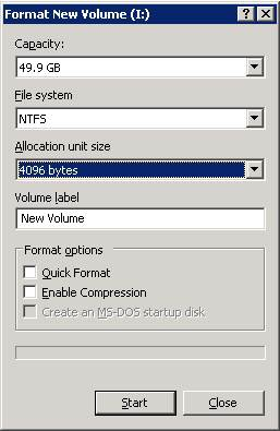 Windows Server 2003 version of the Format New Volume dialog box