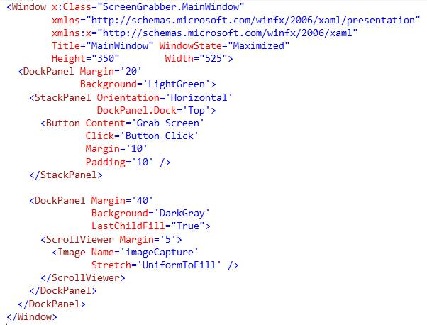 Screen capture in a WPF application