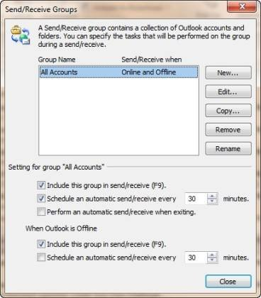 Use the Send/Receive Groups dialog box to create and edit groups.