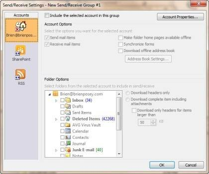 Configure options through the Send/Receive Settings box.