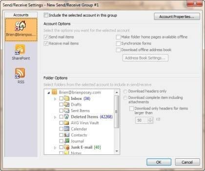Configure options through the Send/Receive Settings box.