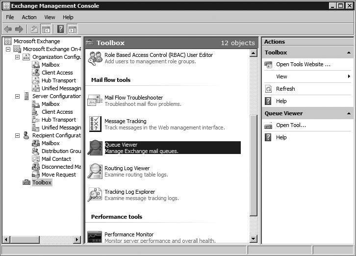 Exchange Management Shell, Queue Viewer: Message tracking tools