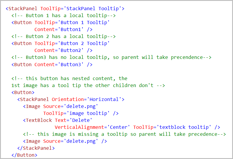 Tooltips in child elements