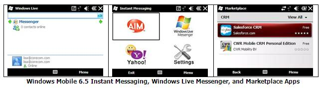 Windows Mobile 6.5 Instant Messaging, Windows Live Messenger and Marketplace Apps. Click to view the full-size image.