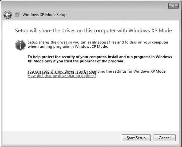 Setting up and installing applications in Windows XP Mode