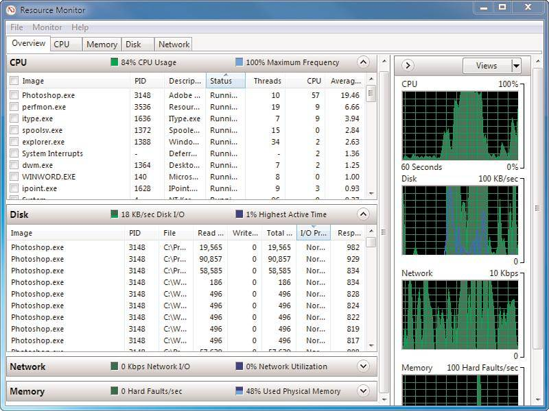 Using the reliability and resource monitor in Windows 7