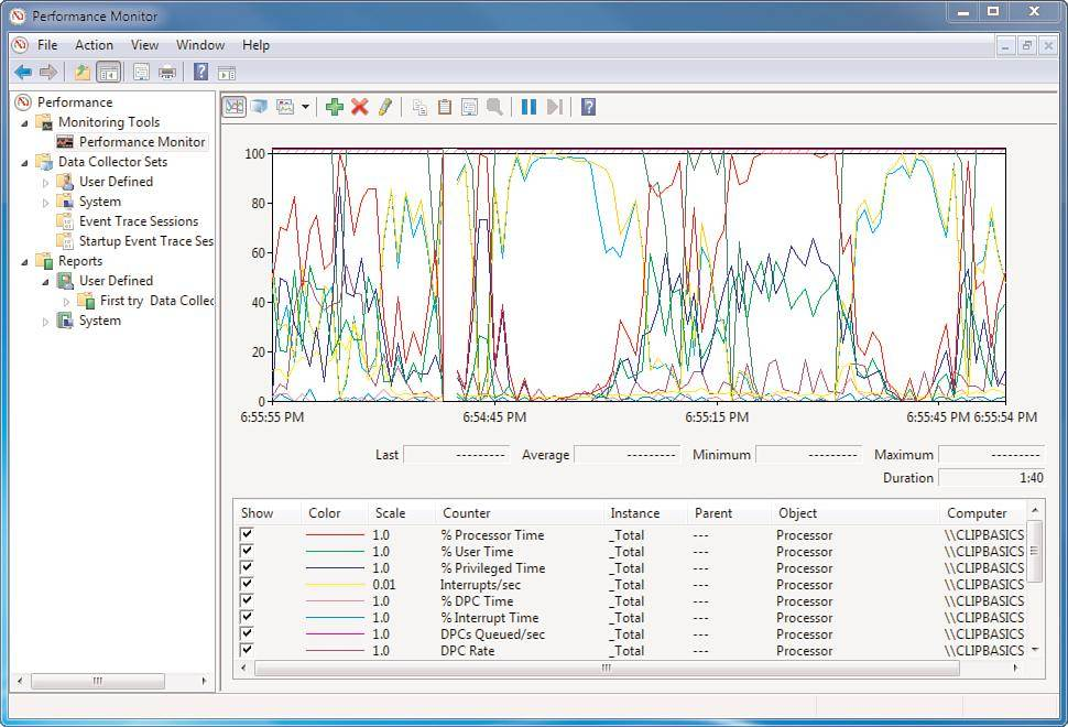 How to save Perfmon data using Windows 7 performance monitor