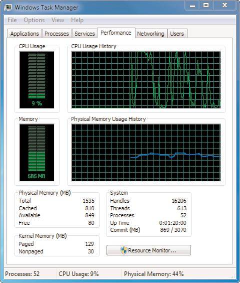 Windows task manager: Viewing Windows 7 processes and applications