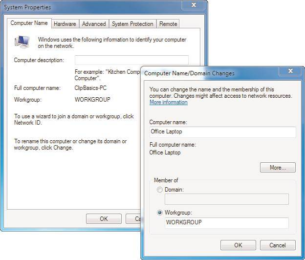 Using system properties to configure Windows 7 options