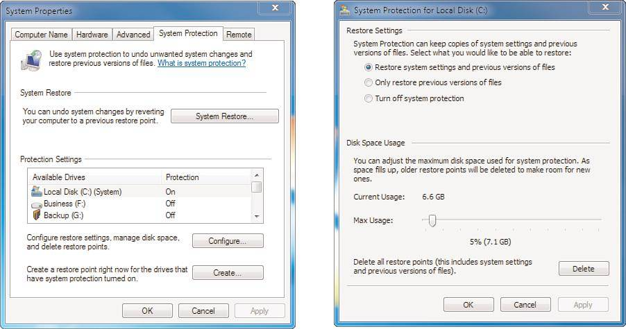 Figure 1113 Advanced System Protection Settings