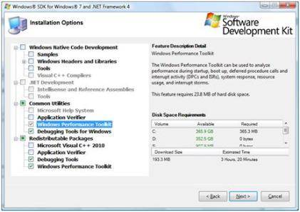 Installation options for Windows SDK