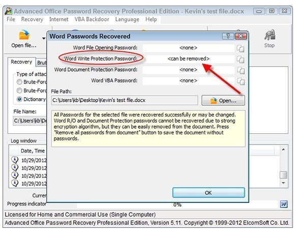 advanced office password recovery key