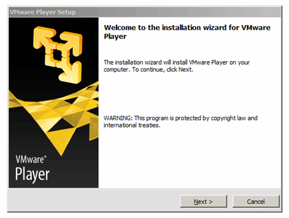 VMware Player 5 install wizard