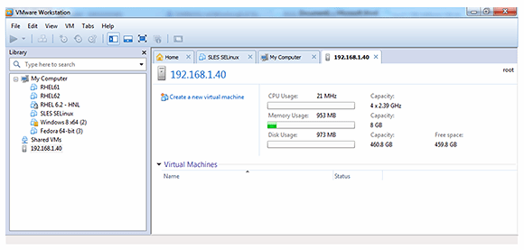 ESXi console in the Workstation view