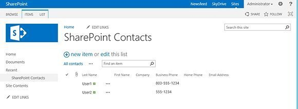 Figure 1. Click on the List tab in SharePoint 2013.