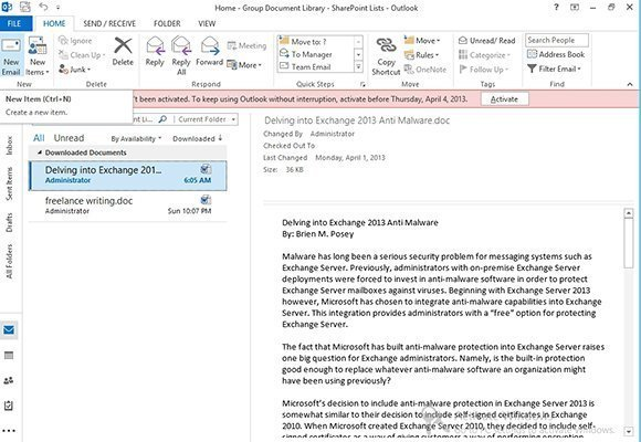 Figure 4. SharePoint documents can now be read from within Outlook 2013.