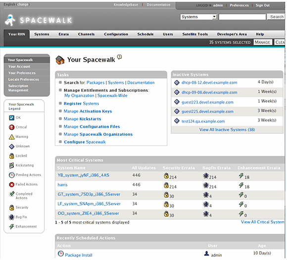 Spacewalk's Linux management interface