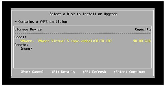 ESXi 5.1 storage options.