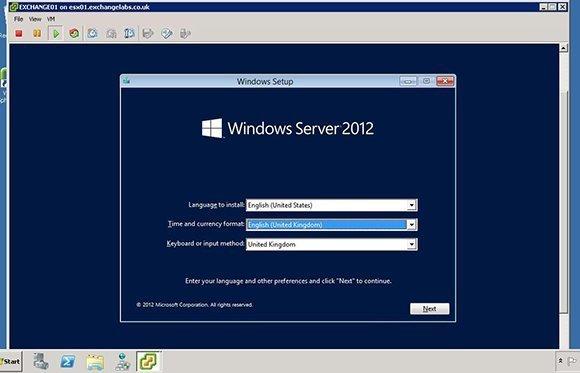 Windows Server 2012 setup