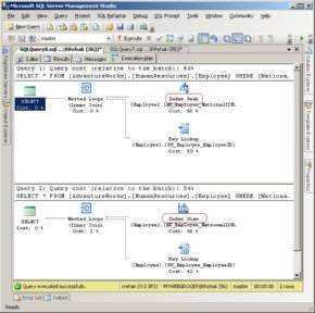 Figure 1. This execution plan shows that when the data types match (top window), SQL Server performs an index seek to find matching data. When the data types don't match in the second query, SQL Server uses a less efficient index scan.