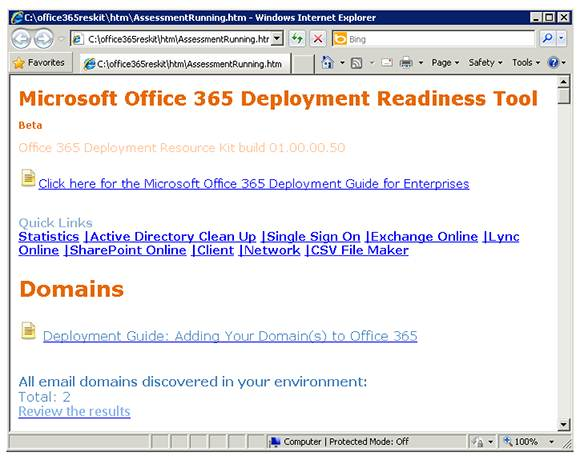 The Microsoft Office 365 Readiness Tool details problems with your environment