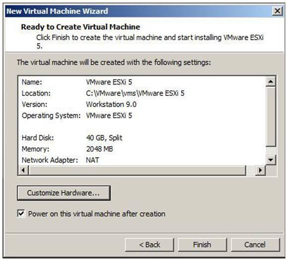 Customize the ESXi host VM in Workstation 9