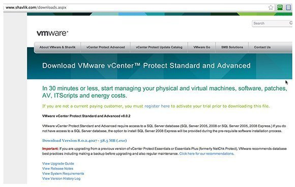 Downloading VMware vCenter Protect
