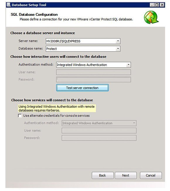 VCenter Protect Database Configuration Tool