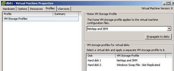 Different profiles attached to different virtual disks