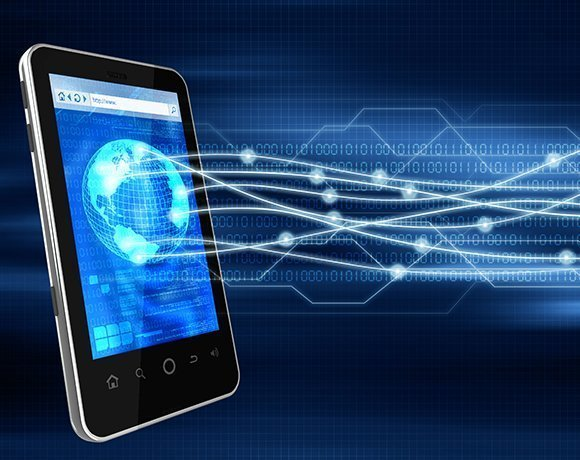 mobile phone with binary code