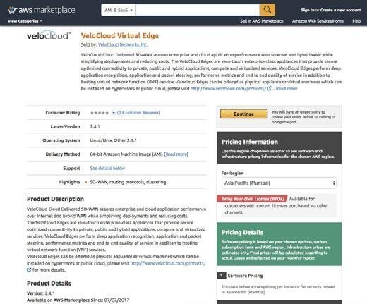 AWS Marketplace offers VeloCloud Edge
