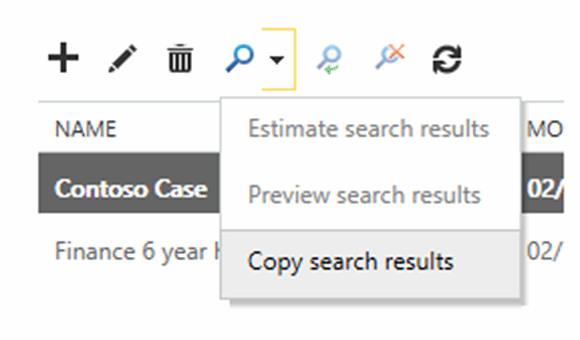 Export the search results