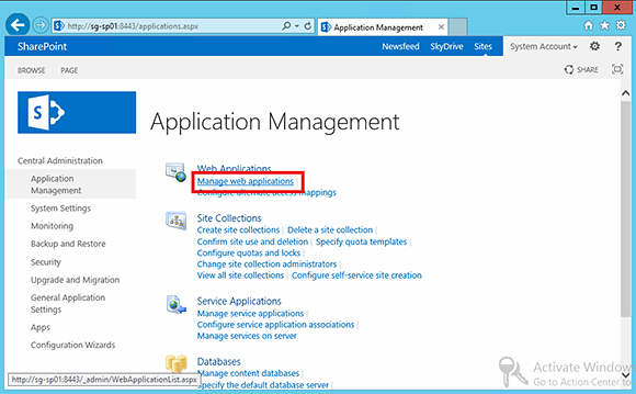 Manage Web applications from SharePoint 2013.