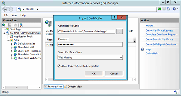Import your SSL certificate.