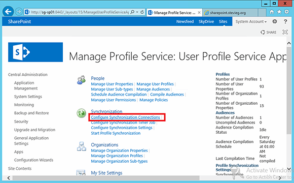 Configure synchronizations within the SharePoint Central Administration console.