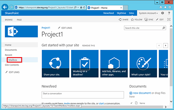 The Exchange 2013 site mailbox is available within SharePoint.