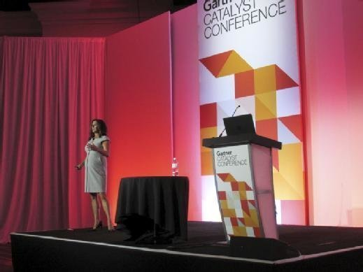 Gartner analyst Mindy Cancila discusses developing a cloud strategy at the Gartner Catalyst conference in San Diego on Aug. 21.