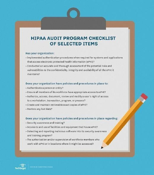 A limited selection of HIPAA audit items to expect