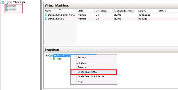 Deleting a Hyper-V snapshot within Windows Server 2012