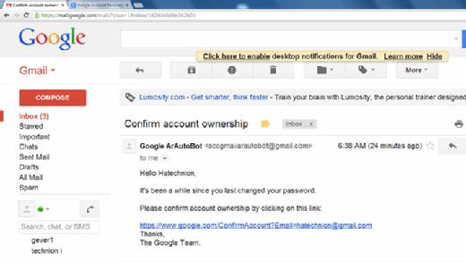 Google Phishing Email