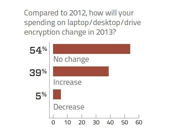 Spending on laptop/desktop/drive encryption technology 2013