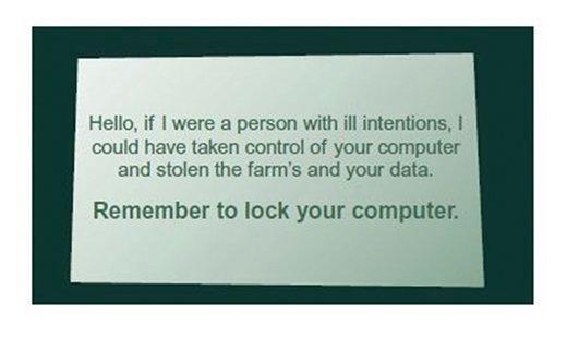 FIGURE 6.1 Screen locking reminder card.