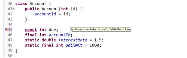 const in Java