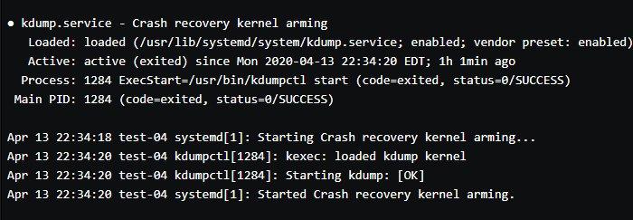 Abbildung 2: Die Ausgabe bestätigt, dass kdump installiert ist und läuft.