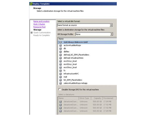 SDRS visible in a virtual machine
