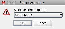 Figure 15: Selecting an XPath Query assertion.