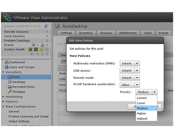 Settings in VMware View Administrator