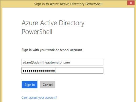 Credentials required for Azure AD.