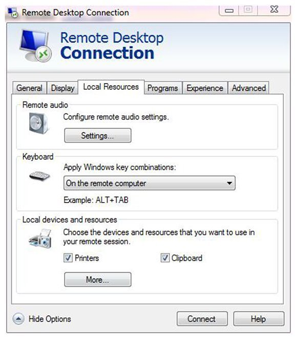 Using key sequences on a remote Windows 8 desktop