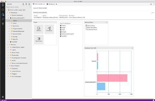 Screenshot of Microsoft's SQL Operations Studio tool